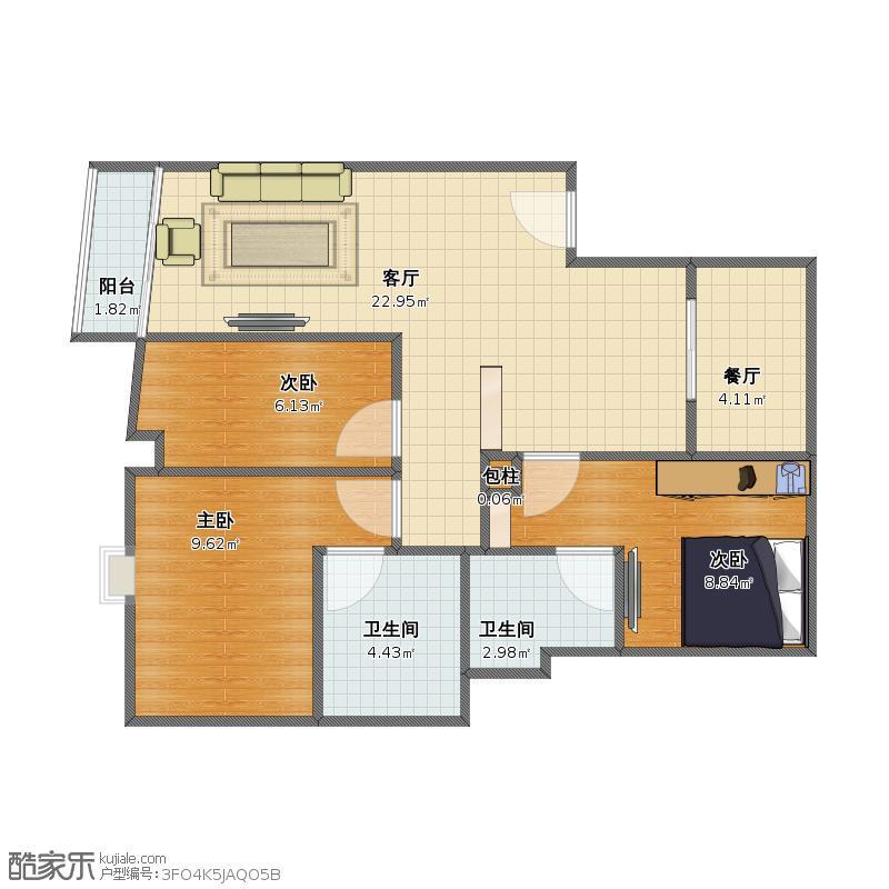框架式结构的房子,分成三室
