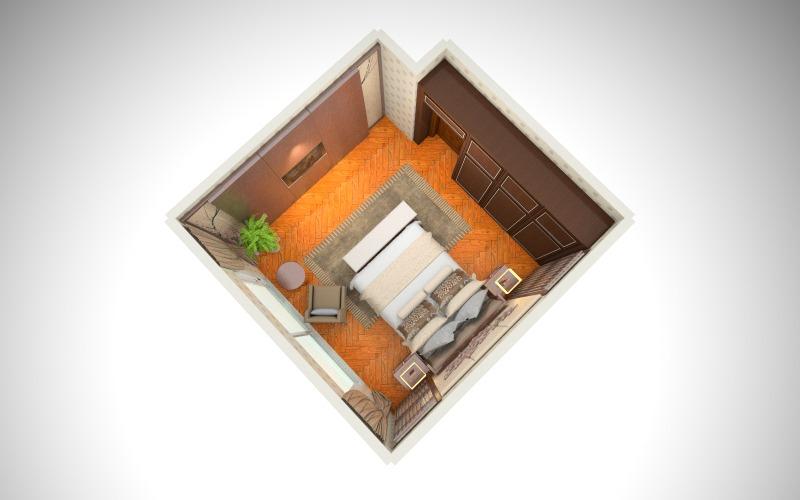 新古典主义风格的卧室-俯视图