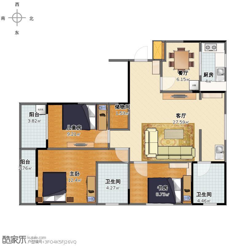 戶型設計 101平二室一廳一廚二衛改三室  建筑面積:96平方米 更新日期