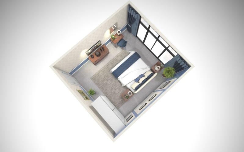卧室2户型图-俯视图