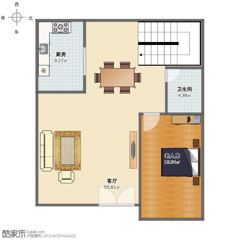 户型设计 自建房户型图  套内面积:87.