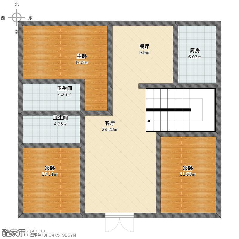 农村自建房10.3米宽10长米,怎么设计三房两厅带楼梯,求各位大师帮忙!