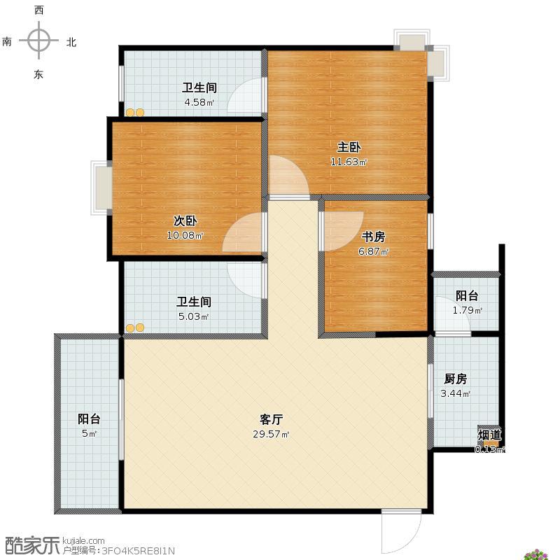 户型设计 汉阳1889小区三室二厅二卫一厨平面彩图  建筑面积:87.