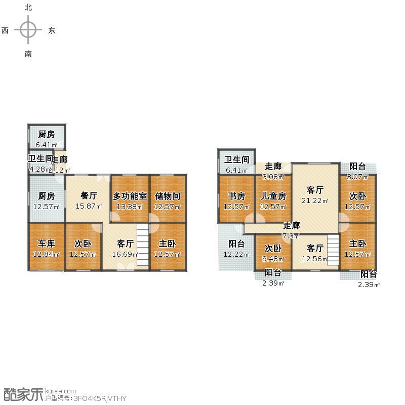 户型设计 一楼&二楼户型图  广西 桂林 未知小区 套内面积:249.