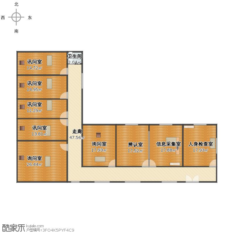 户型设计 办案区平面图1  海南 海口 未知小区 套内面积:203.