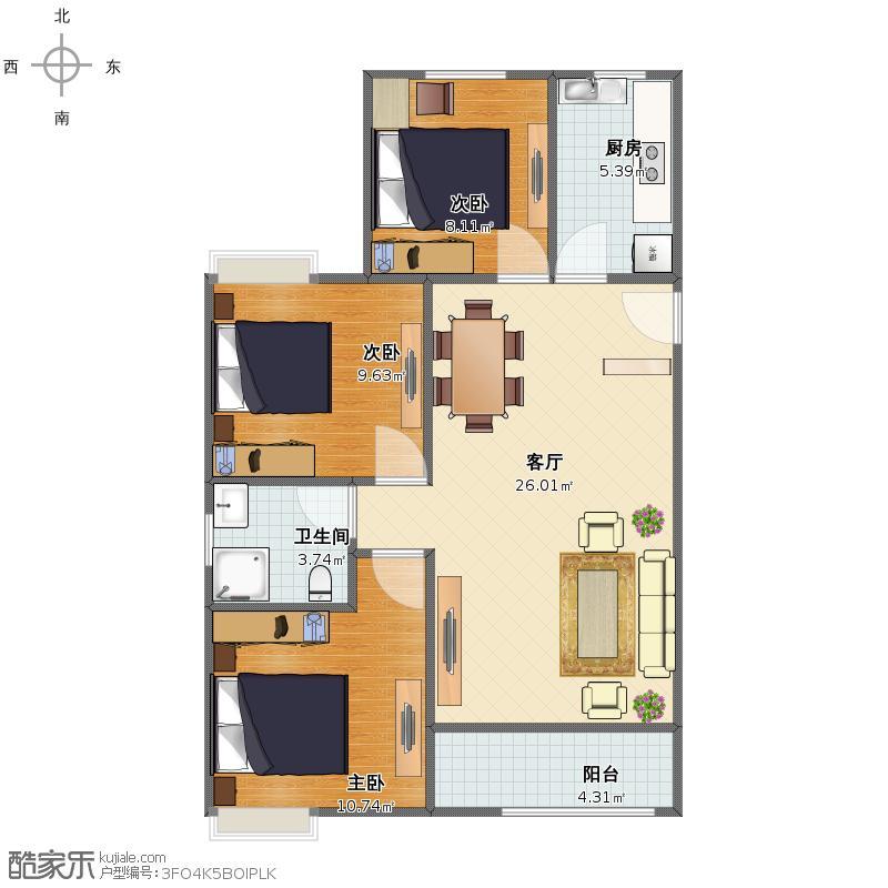 户型设计 1#89平  福建 宁德 未知小区 套内面积:67.