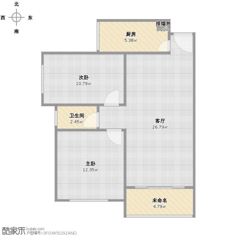 户型设计 b3-1305君安花苑2房  广东 肇庆 未知小区 建筑面积:67.
