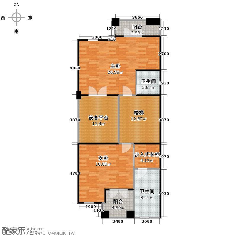 擎天半岛排屋226.00㎡悦墅b-二层户型2室2卫