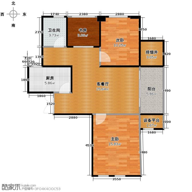 擎天半岛排屋110.00㎡户型3室1厅1卫1厨
