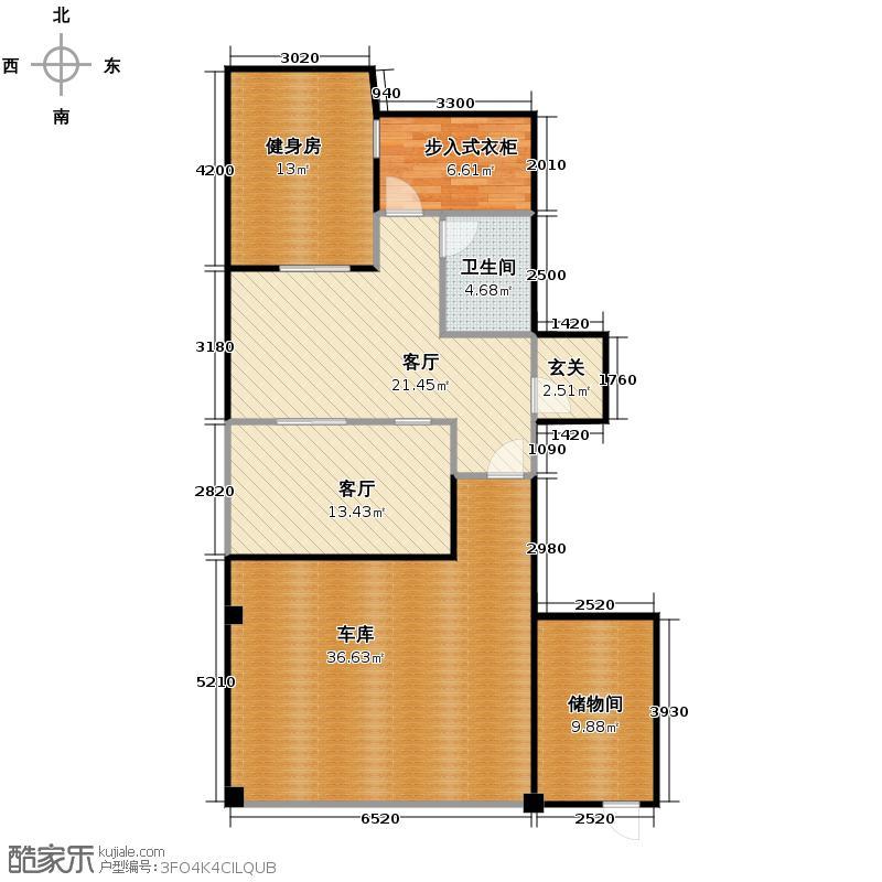 00㎡悦墅a型-地下室户型2厅1卫  浙江 杭州 擎天半岛排屋 套内面积