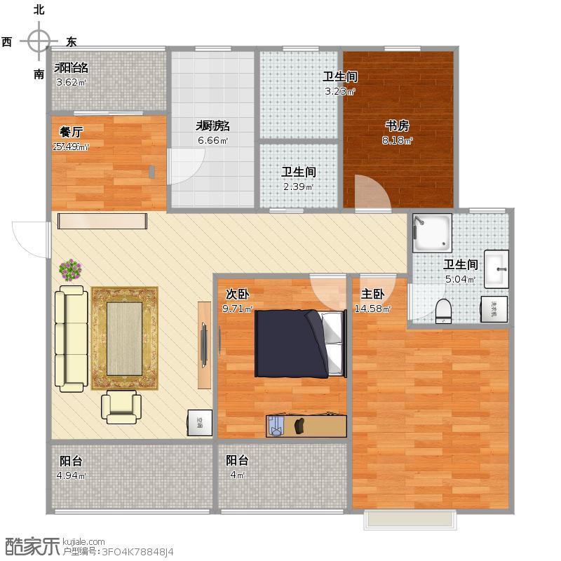 祥泰新河湾户型图三室两厅两卫户型图大全