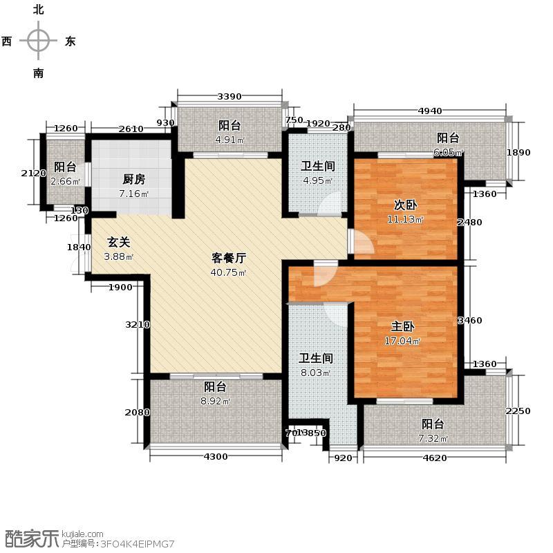 中大西郊半岛139.00㎡d奇数层户型2室1厅2卫