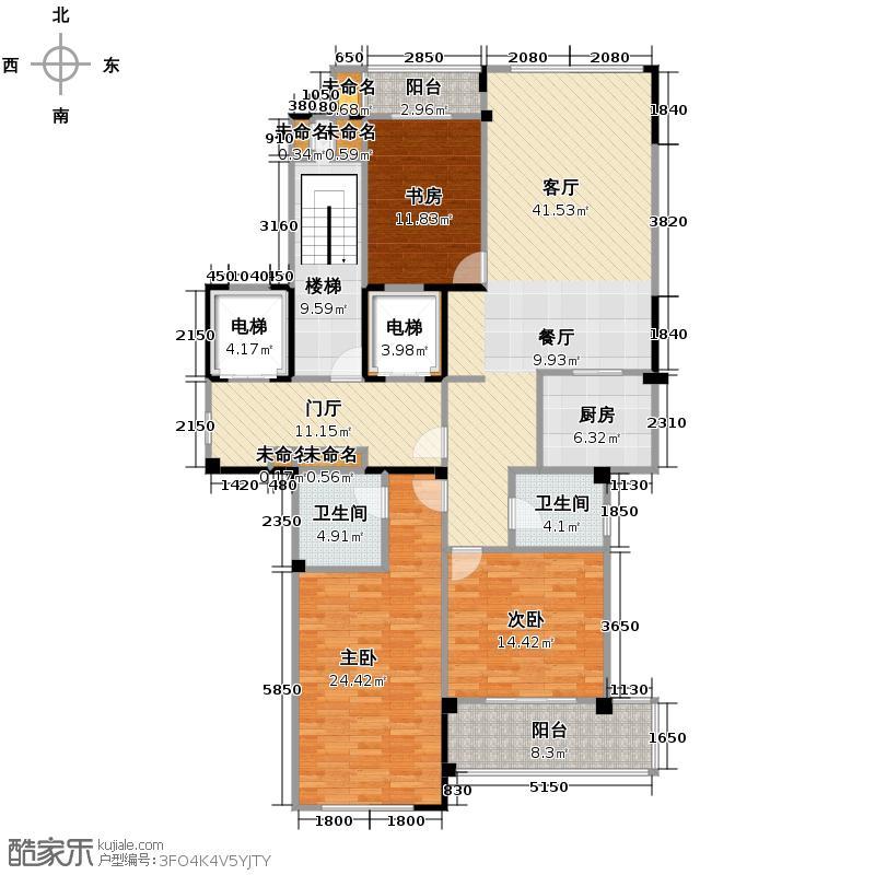 00㎡b户型3室1厅2卫1厨户型图大全,装修