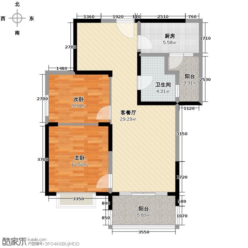 恒大御景半岛99.62㎡1号楼1单元两室户型2室2厅1卫