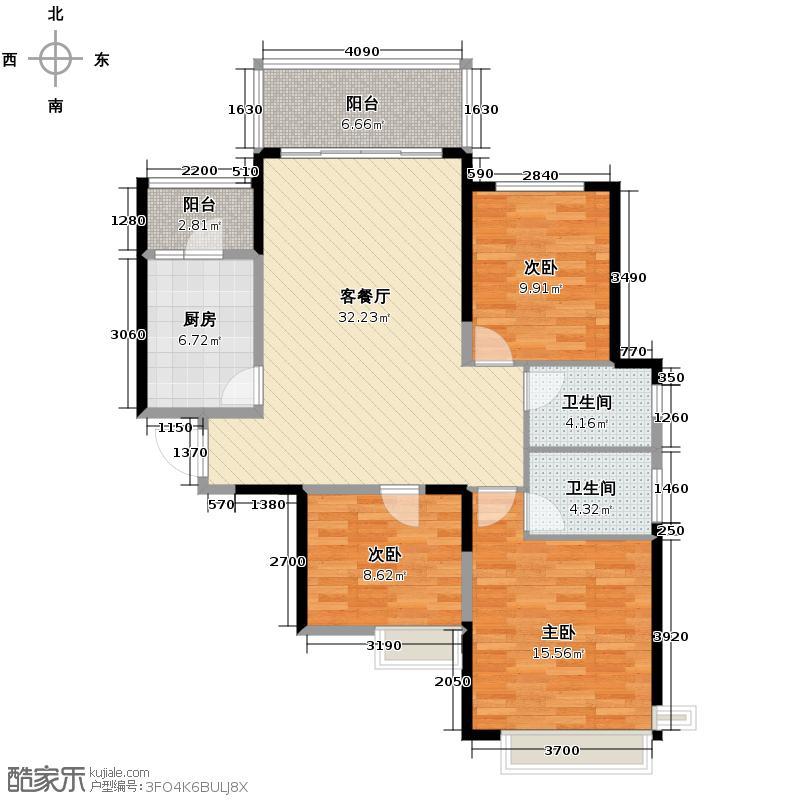恒大御景半岛126.43㎡1号楼1单元三室户型3室2厅2卫