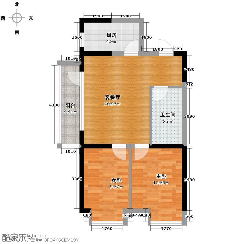66㎡户型2室2厅1卫  辽宁 沈阳 沿海赛洛城 建筑面积:82平方米 ᜀ