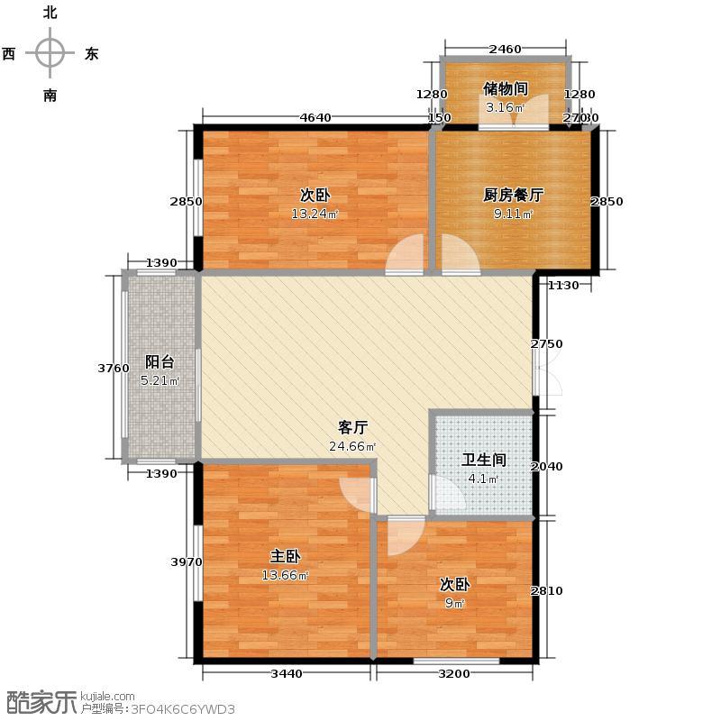 海富金棕榈88.75㎡户型3室1厅1卫