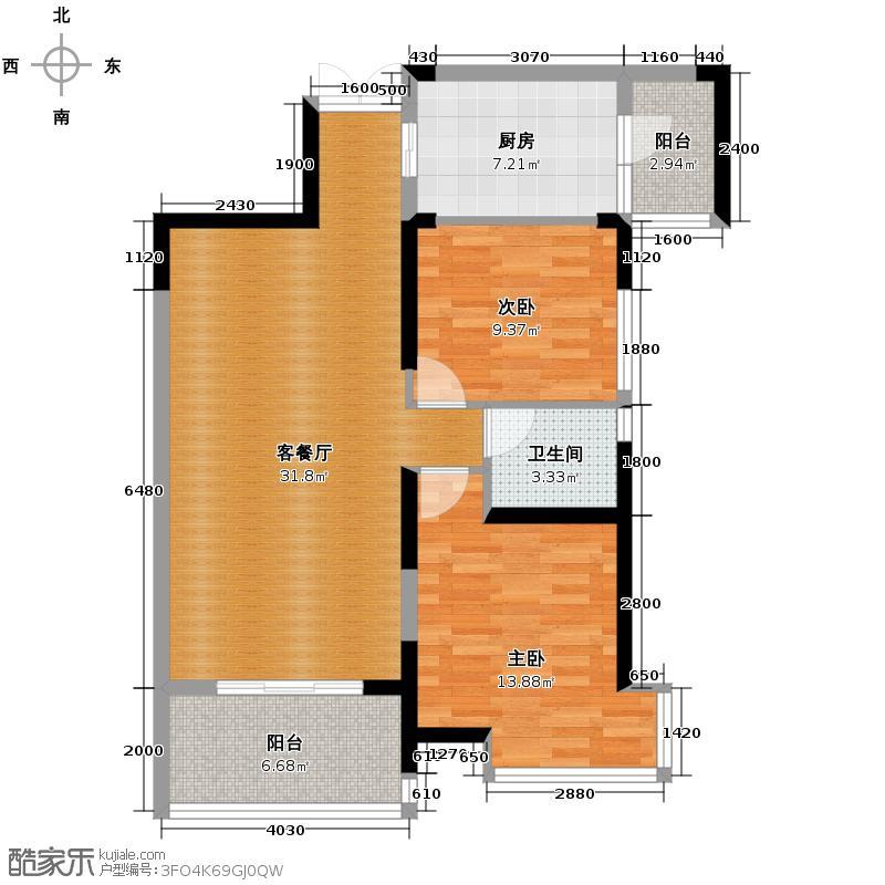 新世界恒大华府户型图1/2号楼b1户型 两房两厅一卫(4/6张)