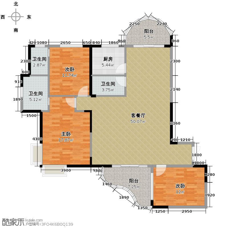 湘隆时代大公馆133.63㎡户型3室1厅3卫1厨