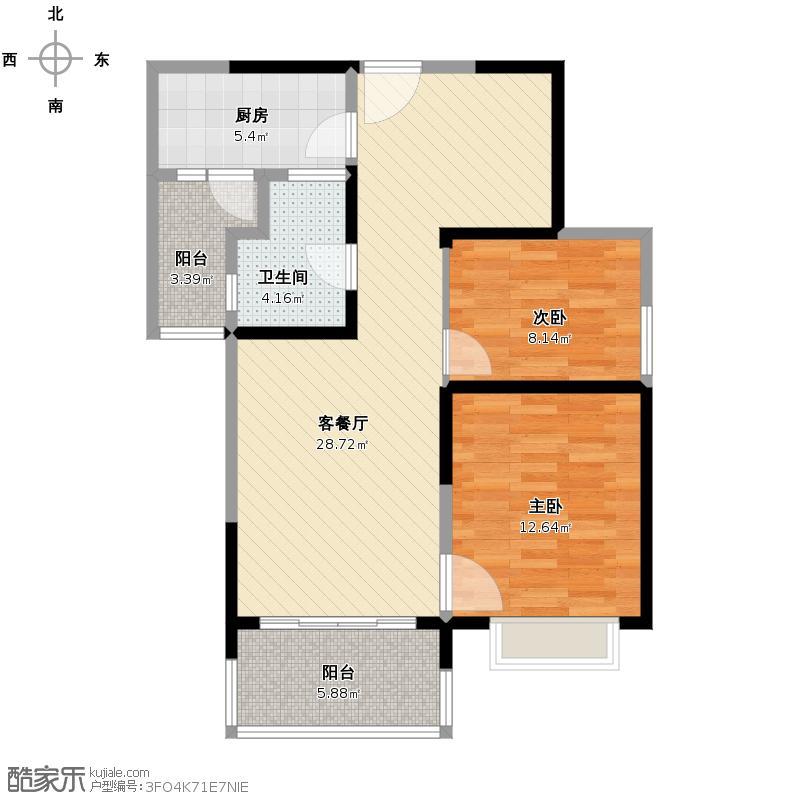 恒大御景半岛1号楼1单元 两室户型图大全,装修户型图