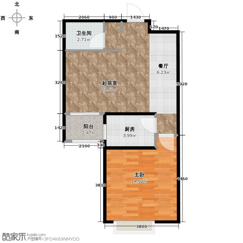 91㎡悠然空间户型10室  山东 青岛 凯景花园 建筑面积:66平方米 &#588