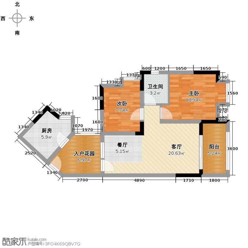 南方玫瑰城73.00㎡a1组团二期5号楼标准层d2户型2室2厅1卫