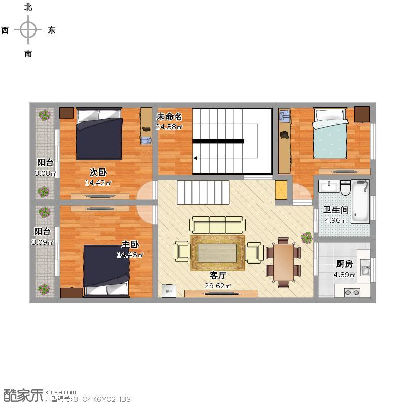 装修社区 户型改造 自建房12x8  套内面积:111.