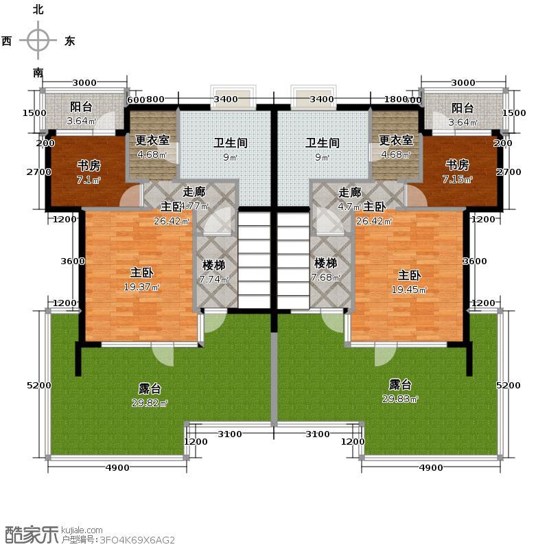 00㎡j2三层平面图户型10室  北京 富力湾半岛别墅 套内面积:167.
