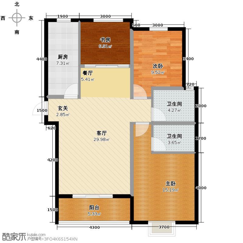 15㎡户型3室2厅2卫  河北 衡水 五洲国际官邸 建筑面积:115平方米 &