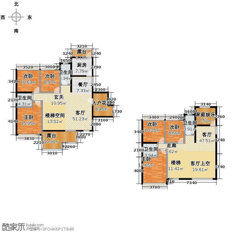 富贵世家241.56㎡2#,6#二单元03号房楼中楼户型10室