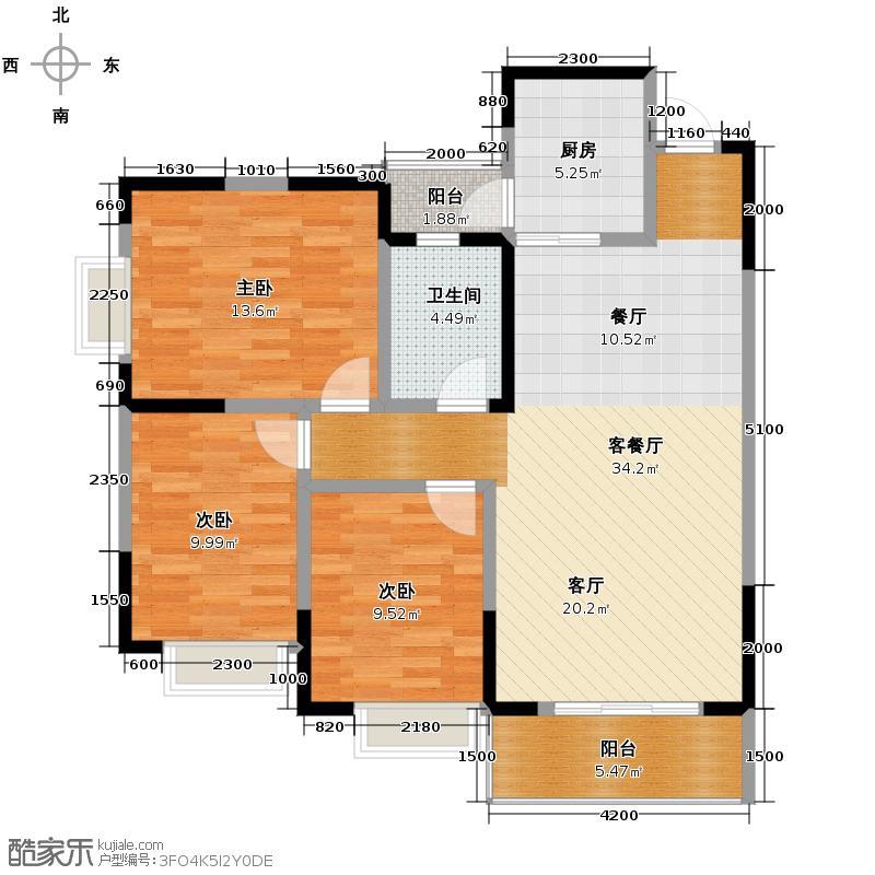 山水四季城110.71㎡2011年在售30栋b双阳台户型10室