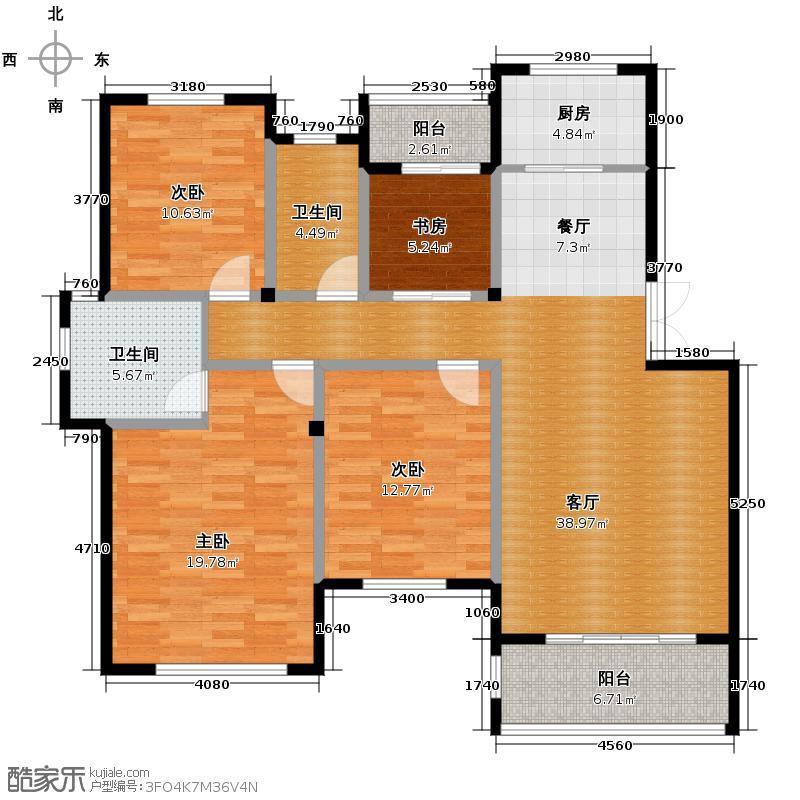 新湖庐山国际125.09㎡d13/14-e户型4室2厅2卫