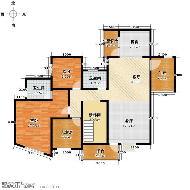 93㎡复式楼上下两层共户型6室户型图大全