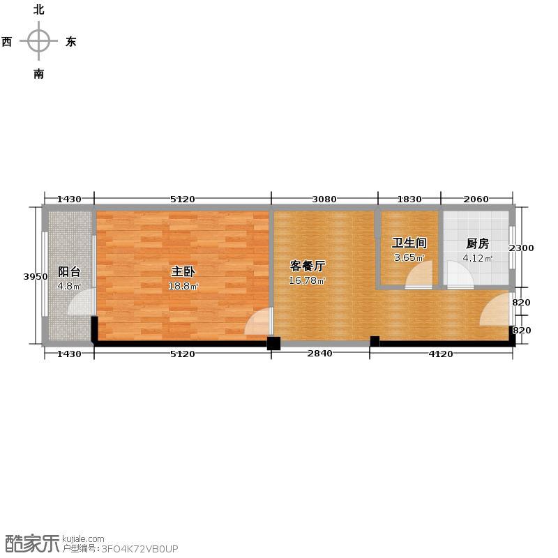 公寓二c户型 71平米一室一厅