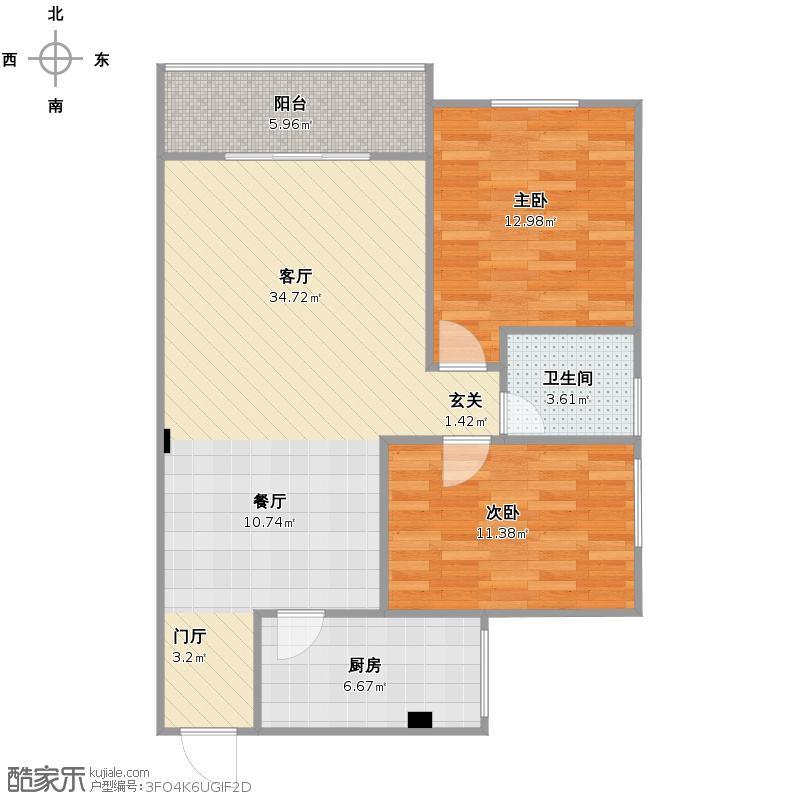 户型设计 吴先生家户型图  陕西 安康 未知小区 套内面积:75.