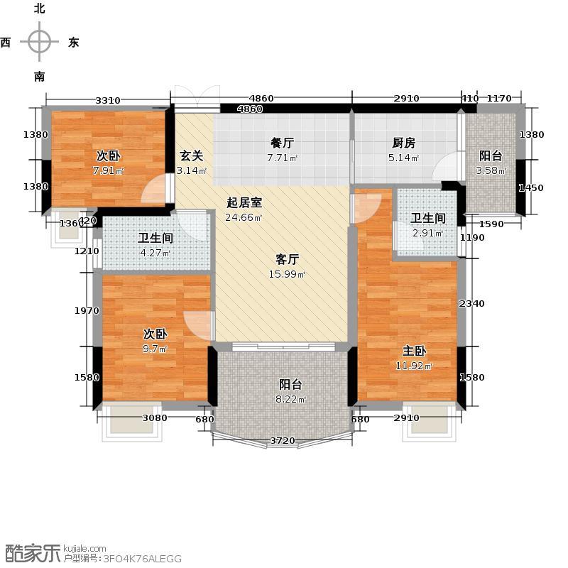 银泰红城二期107.73㎡户型3室2厅2卫