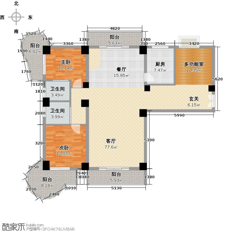 大洲国际龙郡手绘户型图-170平ad户型一层户型