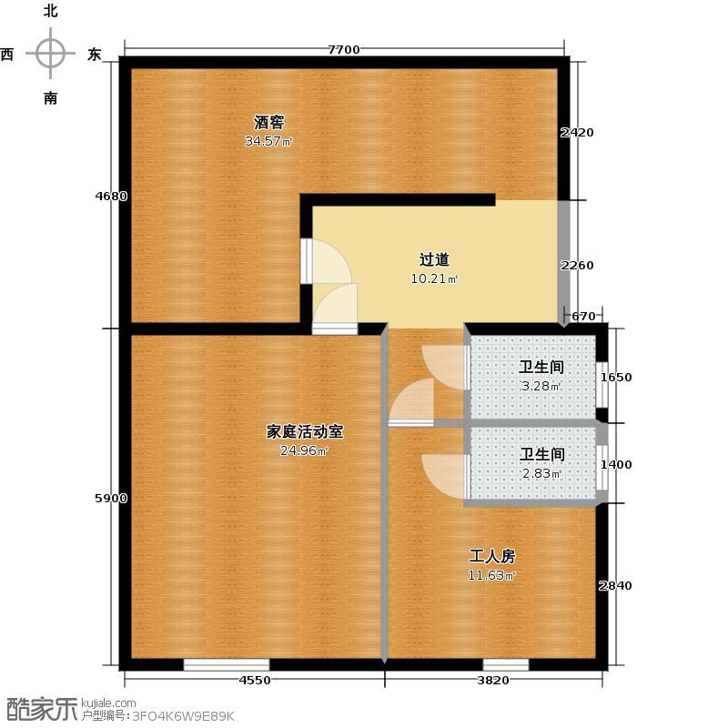 74㎡联排别墅3栋半地下室平面户型10室