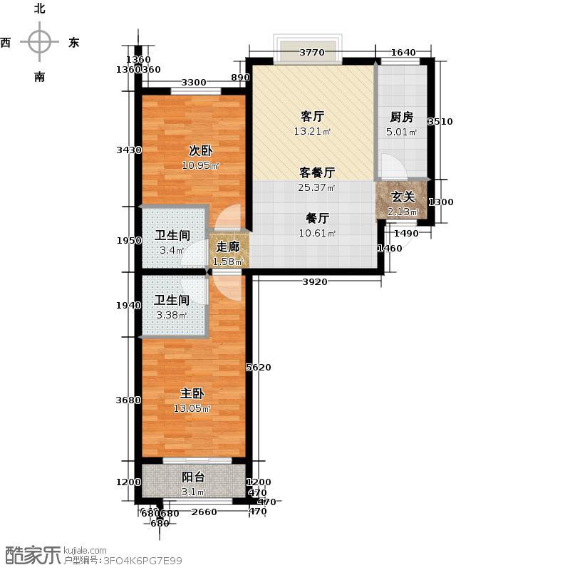 98㎡户型10室  河北 秦皇岛 在水一方 建筑面积:90平方米 &#58888