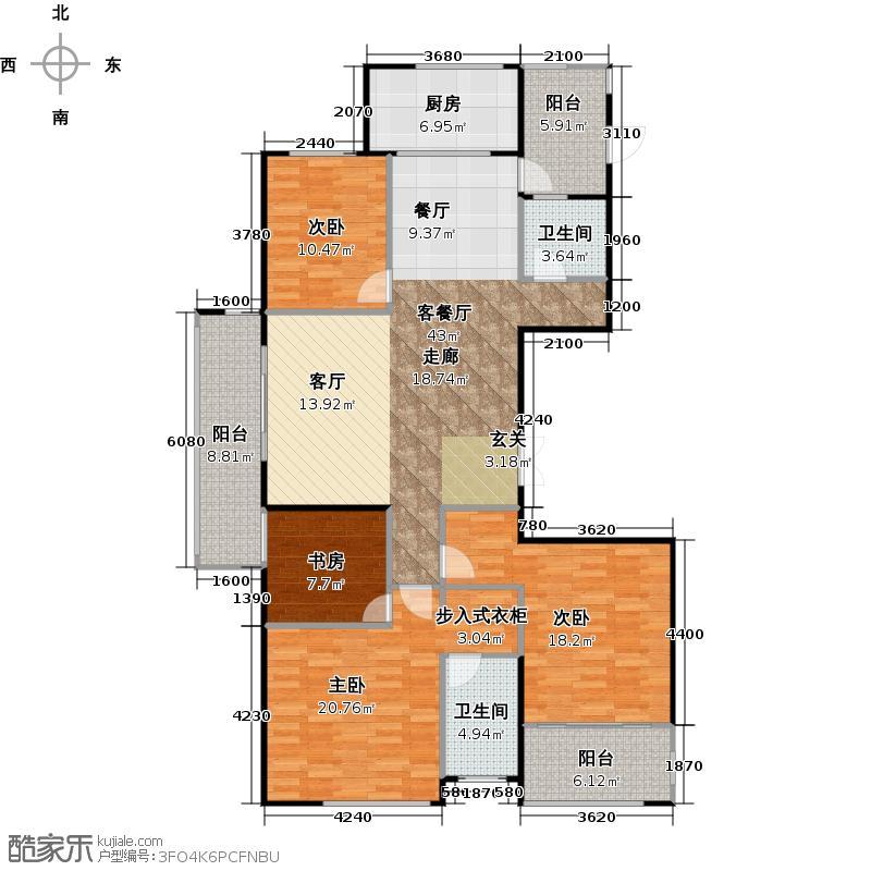 擎天半岛165.00㎡j户型4室2厅2卫