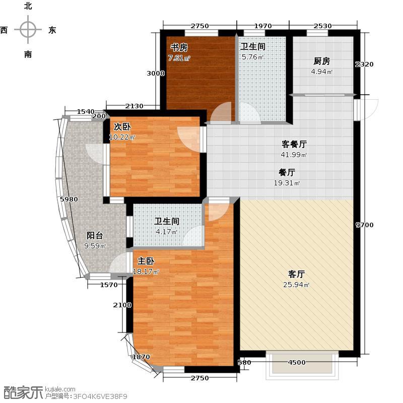 大连海湾城114.93㎡户型3室2厅2卫