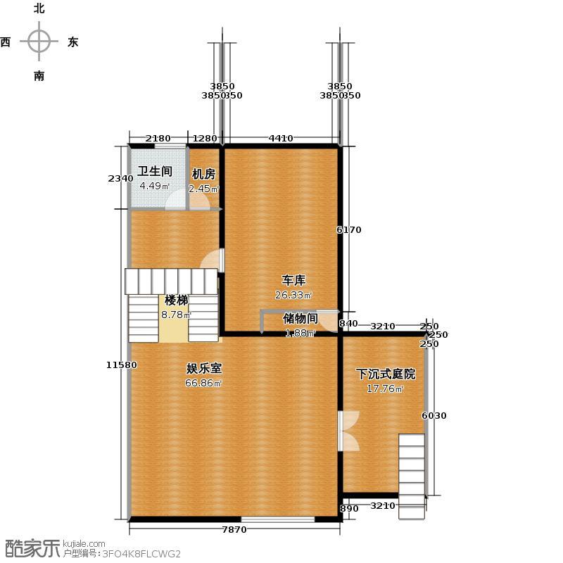 檀香山別墅117.26㎡a16地下室平面圖戶型10室