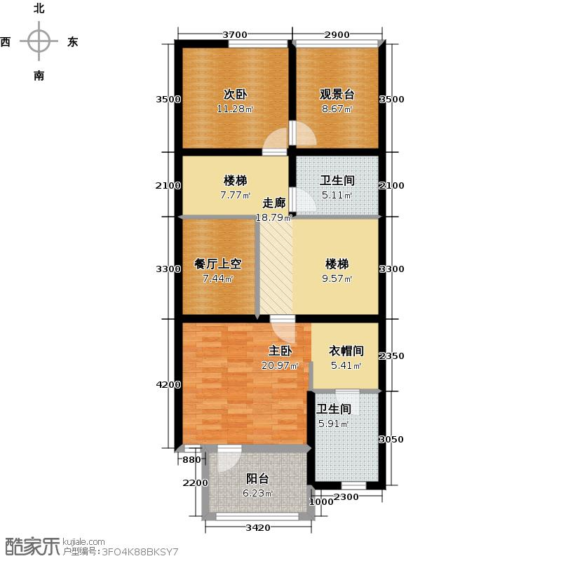 00㎡a区联排别墅北入口二层户型10室
