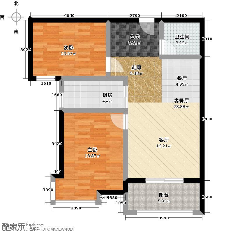 紫城秦皇半岛76.27㎡户型2室2厅1卫