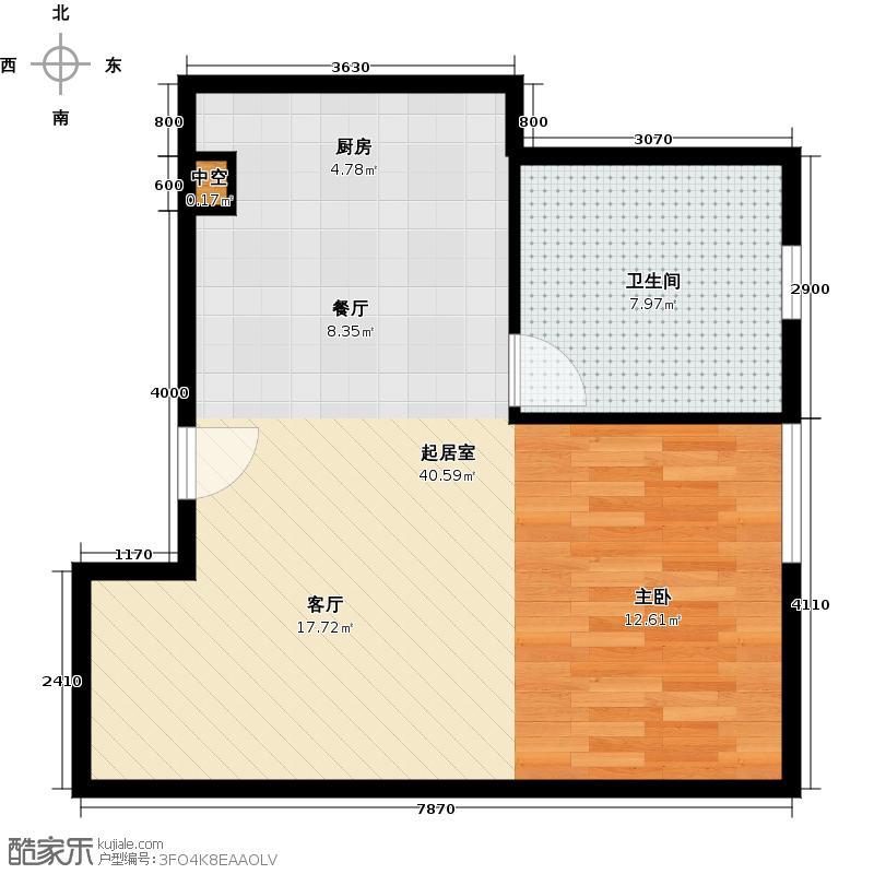 奥加国际公寓75.54㎡e一居室户型10室