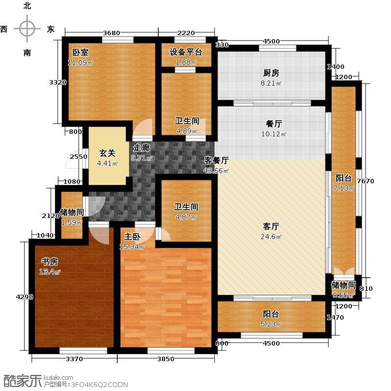 绿城西溪融庄148.00㎡花园洋房b户型3室2厅2卫