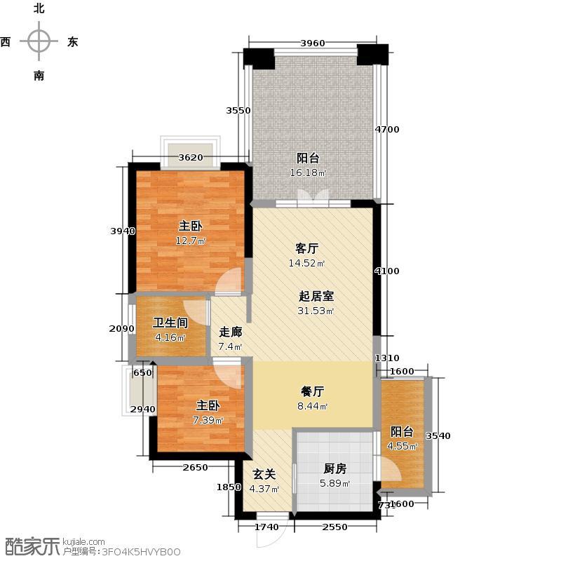 00㎡6期镜湖h7偶数层户型2室2厅1卫  四川 成都 南湖国际社区 建筑