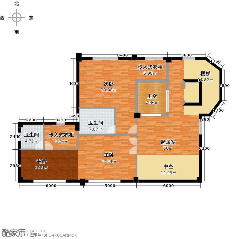 星际半岛143.00㎡a1二层户型2室2卫