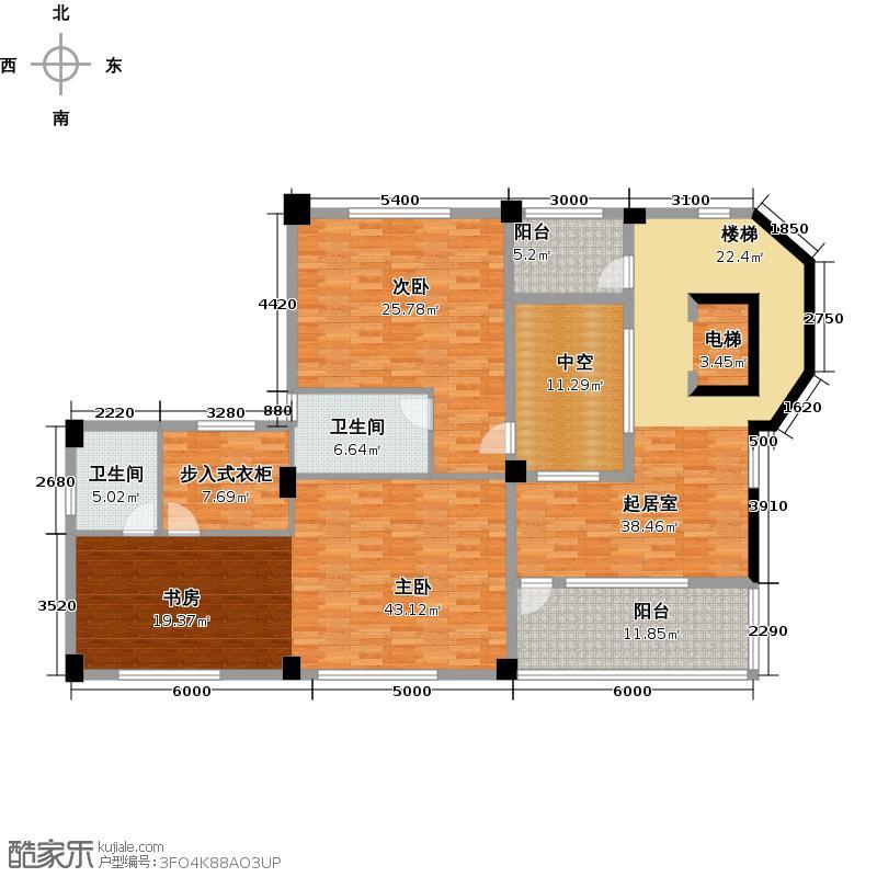 星际半岛142.00㎡a1三层户型2室2卫