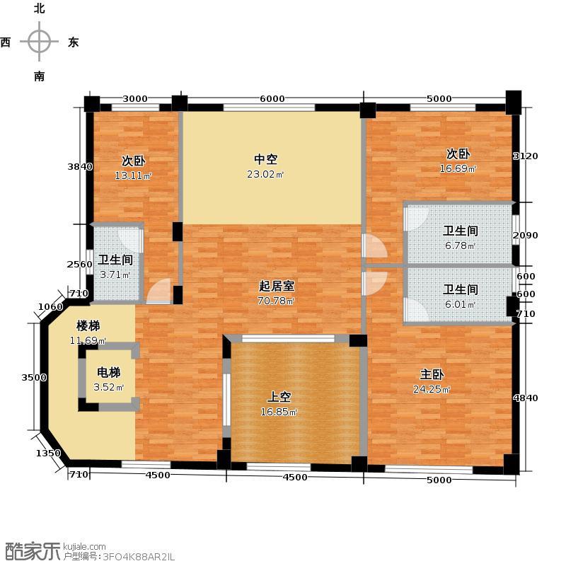 星际半岛131.00㎡c二层户型3室3卫